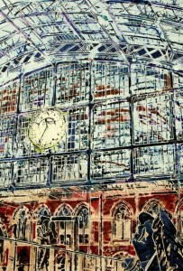 Painting of St Pancras and John Betcheman sculpture on the concourse with the station clock in the backgroundNext Stop Paris - ©2014 - Cathy Read - Watercolour and Acrylic - 38x28 cm - SOLD