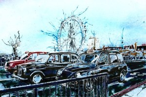 ©2014-Cathy-Read-Taxi-Marathon-Watercolour-and-Acrylic-on-paper-on-board-30-x-45-cm