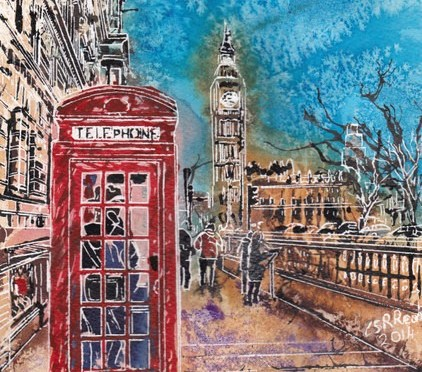 Painting of Parliament Square in London with Big Ben and a red phone box with people©2014 - Cathy Read - Hi Mum, Just Called to say...- Watercolour and Acrylic on paper-30 x 21 cm
