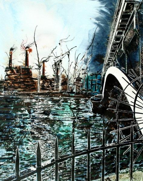 ©2014 - Cathy Read - Battersea under Chelsea Bridge- Watercolour and Acrylic - 40 x 50 cm