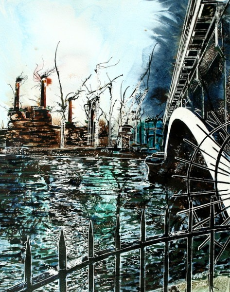 Battersea Power Station Painting with Thanmes and a Bridge ©2014 - Cathy Read - Battersea under Chelsea Bridge- Watercolour and Acrylic - 40 x 50 cm