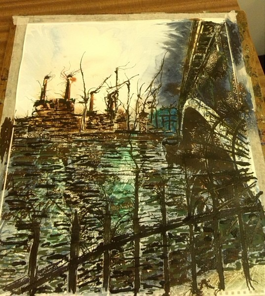 ©2014 - Cathy Read - Work in Progress - Battersea under Chelsea - Watercolour and Acrylic