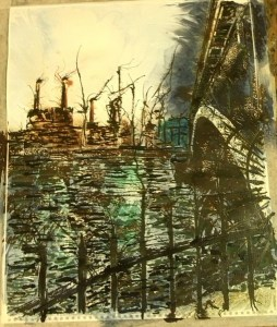 ©2014 - Cathy Read - Work in Progress - Battersea under Chelsea - Watercolour and Acrylic -40 x 50 cm