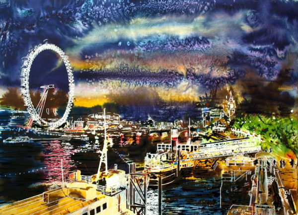 ©2014 - Cathy Read - Goodnight Thames - Watercolour and Acrylic - 54x74 cm