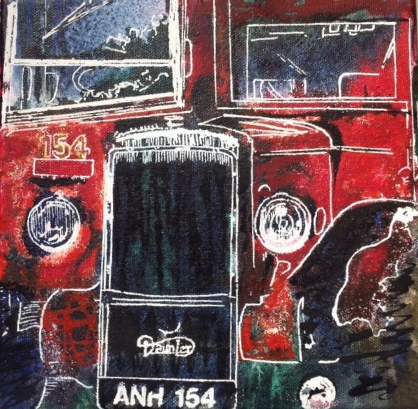 ©2014 - Cathy Read - Routemaster selfie - Watercolour and Acrylic on canvas - 20 x 20cm - (SOLD)