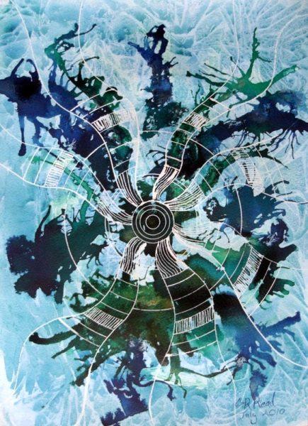 ©2010-Cathy Read -Encounter- Mixed Media - 28 x 38cm