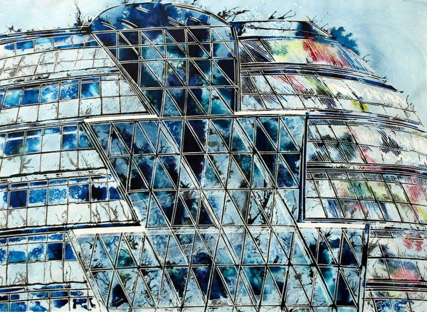 ©2013 - Cathy Read - City Hall, London - Watercolour and Acrylic - 55 x 75 cm