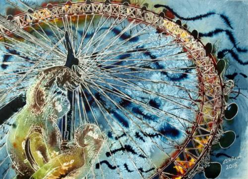 ©2015 - Cathy Read -London Eye painting - Watercolour and Acrylic - 75 x 56 cm 600