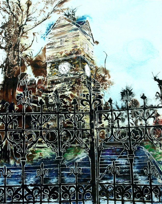 ©2015 - Cathy Read -Standing at the Church Gates - Watercolour and Acrylic  - 50x40 cm