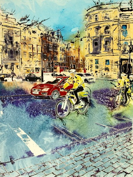 ©2015 - Cathy Read - Bobbies on Bicycles - Watercolour and Acrylic - 61x45 cm