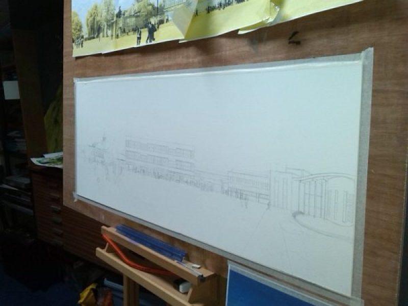 ©2013-Cathy Read -WIP Royal Latin School - Building on 600 years- Pencil- 43 x 106cm