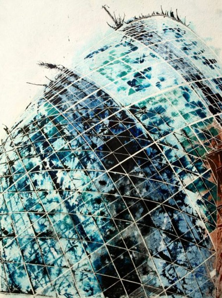 Painting of the Gherkin , Looking upwards and the curved glass architecture London©2012 - Cathy Read -Touching the sky - Mixed media-75x55cm - £810 unframed
