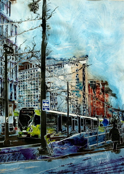 ©2015 - Cathy Read - City Reflections- Mixed Media- 76x56cm - £810 unframed