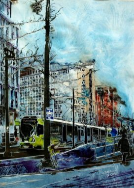 City Reflections - ©2015 - Cathy Read - Watercolour and acrylic ink - 76x56cm - £1200 framed