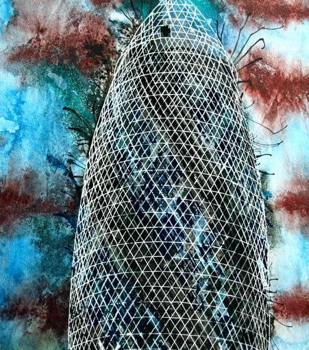 #GherkinPainting Painting of the #Gherkin in London ©2015 - Cathy Read - Gherkin- Watercolour and Acrylic ink - 40.5x30.5cm - £240 unframed