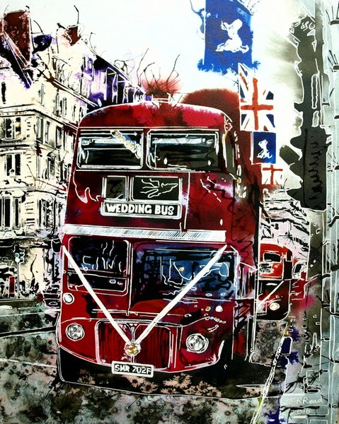 ©2016 - Cathy Read - Wedding Bus- Watercolour and Acrylic - 50 x 40 cm