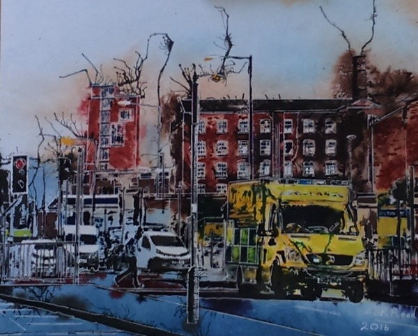©2016 - Cathy Read - Ambulance- Watercolour and Acrylic - 40 x 50cm