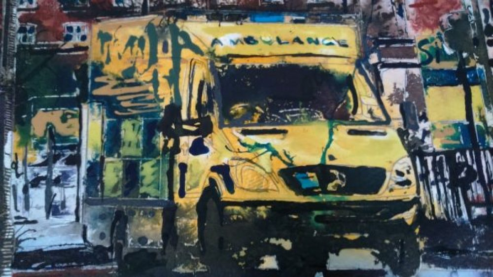 ©2016 - Cathy Read - Ambulance WIP detail - Watercolour and Acrylic