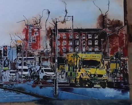 ©2016 - Cathy Read - Ambulance scene - Watercolour and Acrylic