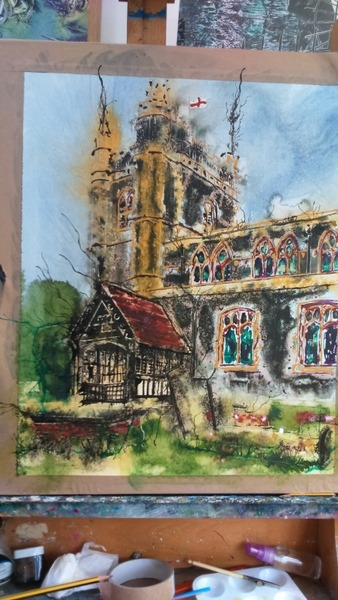 ©2016-Cathy Read- Beaconsfield Church WIP 2- 50x40cm - Watercolour and Acrylic ink