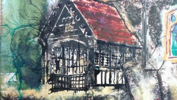 ©2016-Cathy Read- Beaconsfield Church WIP porch detail- 50x40cm - Watercolour and Acrylic ink