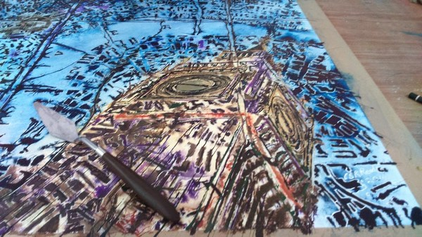 ©2016- Cathy Read-London Maps painting in progress detail clock tower -Watercolour and Acrylic -