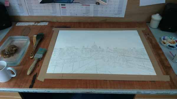 ©2016 Cathy Read - People Crossing the Millenium Bridge Working title -50.1 x 67.2cm HR Work in progress