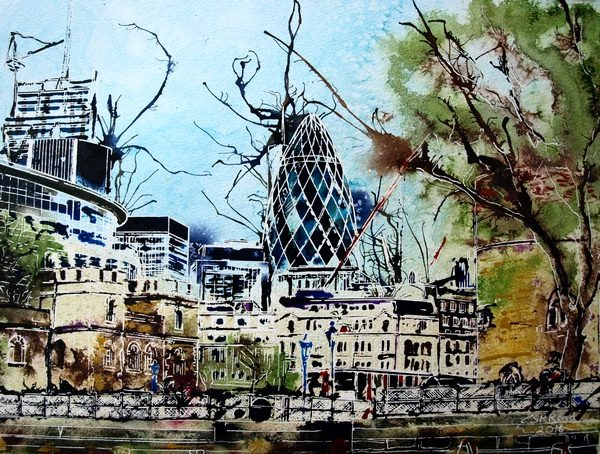 ©2016 - Cathy Read - Approaching the Thames - Watercolour and Acrylic - 30 x 40 cm