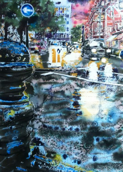 Painting of Sloane Square, nighttime scene of urban traffic, taxis and headlights reflecting on wet roads. ©2017 - Cathy Read -Sloane Square at Night - watercolour and Acrylic Ink - 56 x 76 cm