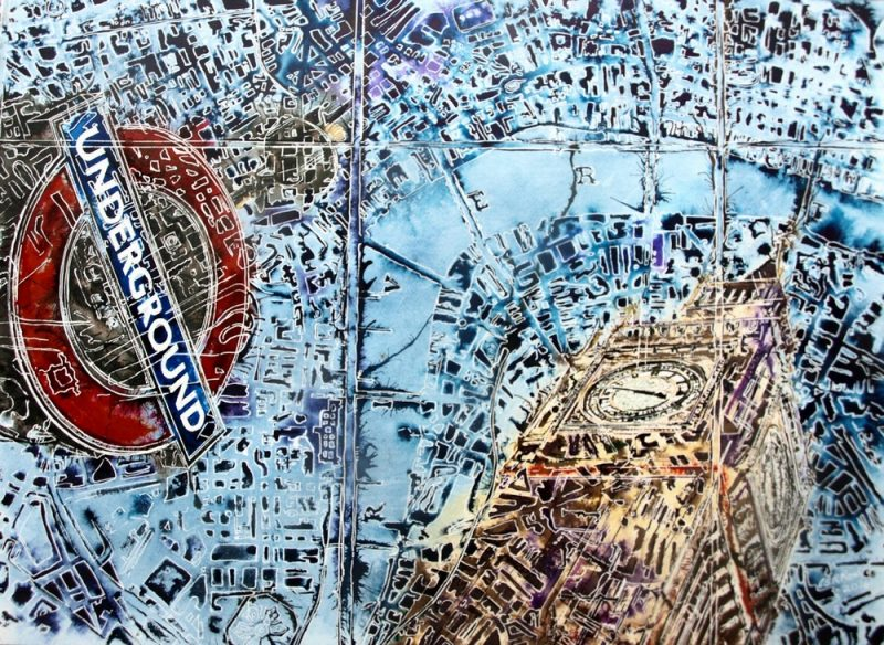 ©2016-Cathy-Read-London-Maps-Watercolour-and-Acrylic-56x76cm - £1200 London photograph superimposed onto a map found in the V and A