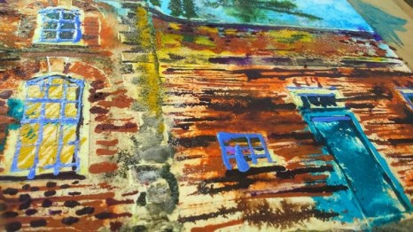 ©2017 - Cathy Read -Claydon House Courtyard WIP detail 2 -watercolour and acrylic ink - 40 x 50 cm