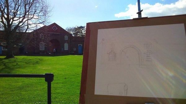 ©2017 - Cathy Read -Claydon House Courtyard WIP- pencil - 40 x 50 cm