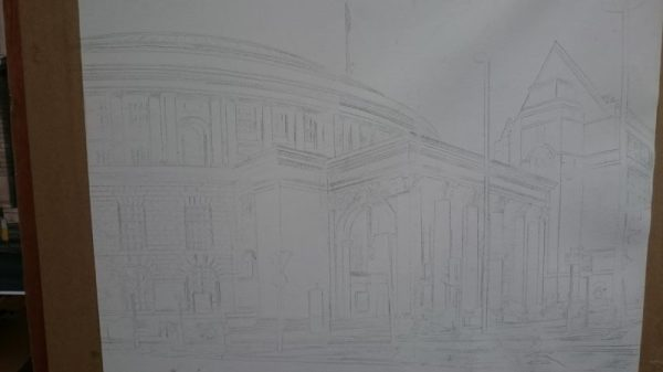 ©2017 - Cathy Read - Manchester Central Library - graphite image
