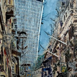 Painting of Lombard Street in London with Walkie Talkie in the backgroundAncient-Signs - Cathy-Read - ©2016 -Watercolour and Acrylic-76 x 56-cm - £1237