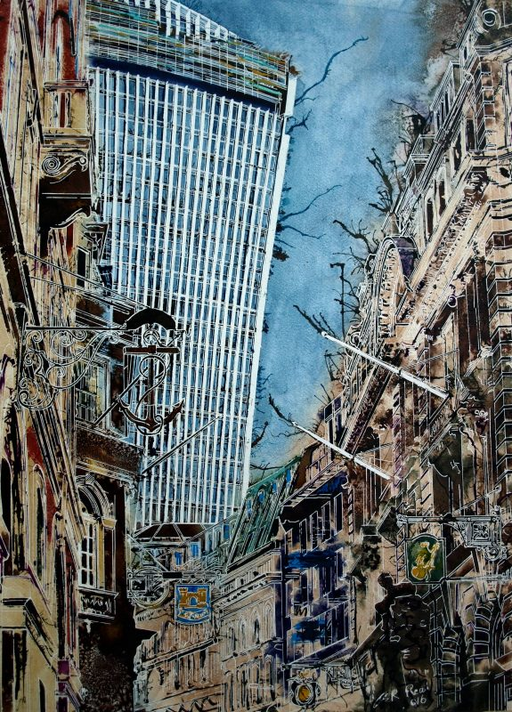 Painting of Lonbard Street in London with Walkie Talkie in the backgroundAncient-Signs - Cathy-Read - ©2016 -Watercolour and Acrylic-76 x 56-cm - £1237