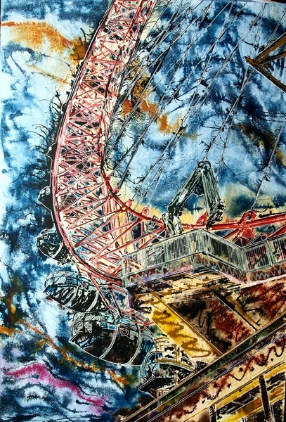 ©2017 - Cathy Read -Painting of the London Eye- 91x61 cm - Acrylic on paper on board