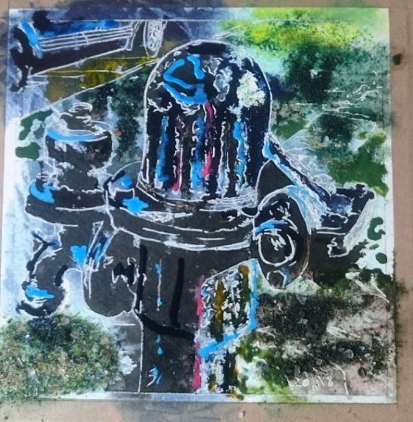 painting in progress on a village waterpump by Cathy Read
