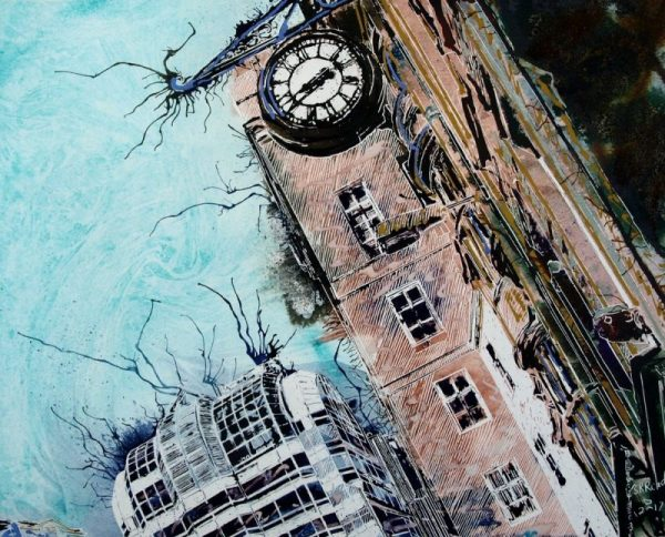 Painting of architecture in Gracechurch Street in London with clock face
