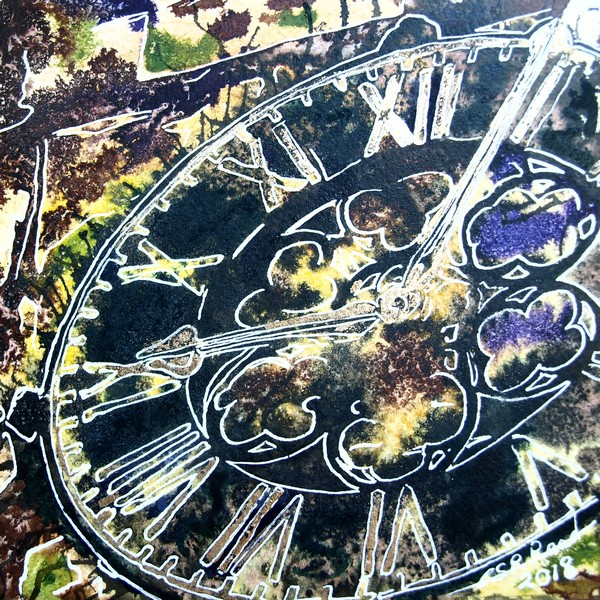 ©2018-Cathy-Read-1-Clock-Watercolour-and-Acrylic ink painting, Buckingham church, Painting 1 4950 Series, Marking time