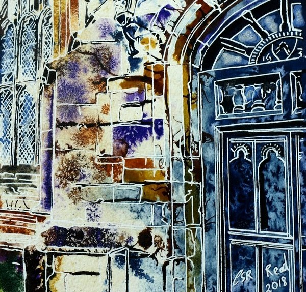 Completed painting of a buttress on Maids Moreton Church showing details of a leaded window and big wooden door Vanishing Buttress -©2018 - Cathy Read - 14 of 4950 Series - Watercolour-and-Acrylic-17.8x17.8cm - £145