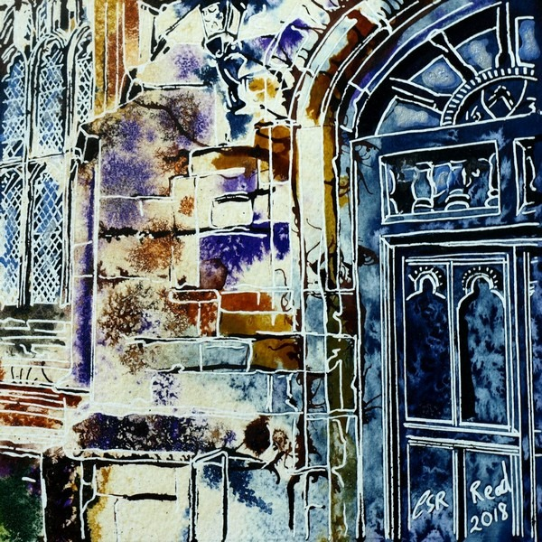 Completed painting of a buttress on Maids Moreton Church showing details of a leaded window and big wooden door Vanishing Buttress -©2018 - Cathy Read - 14 of 4950 Series - Watercolour-and-Acrylic-17.8x17.8cm - SOLD