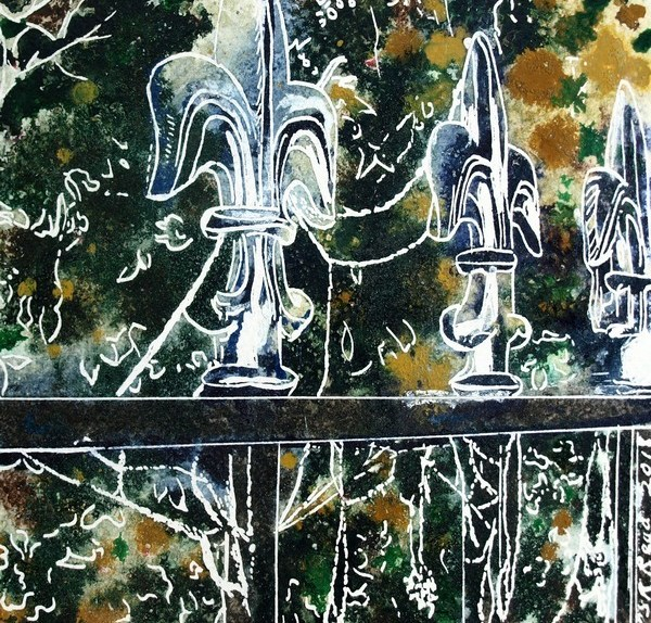 Silver Tips - ©2018-Cathy-Read - 2 of 4950 Series - Watercolour-and-Acrylic-17.8x17.8cm - £145. Painting of railings covered with frosty cobwebs