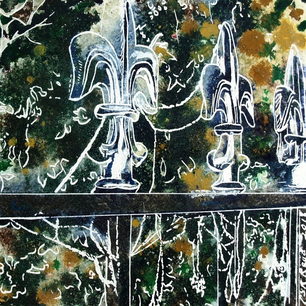 painting of railings covered with frosty cobwebs