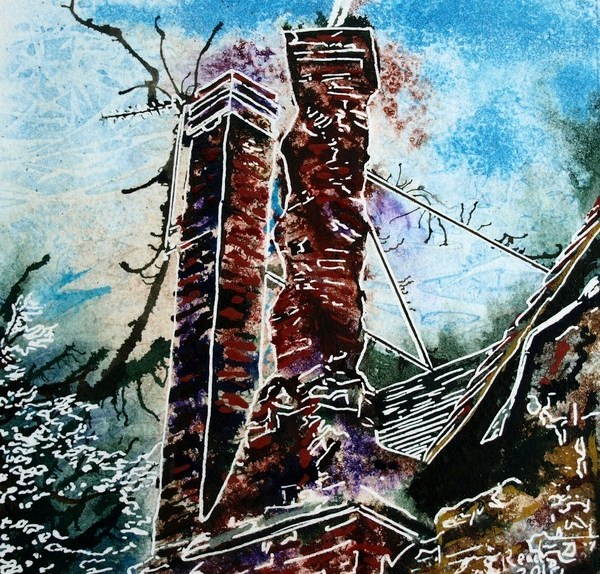 Painting of the Twisted chimney, a brick chimney on the church Street Manor House in Buckingham Twisted Chimney - ©2018-Cathy-Read - 6 of 4950 Series - Watercolour-and-Acrylic-17.8x17.8cm - SOLD