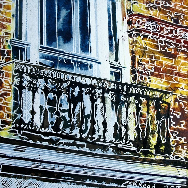 Painting of a juliet balcony above a shop in Buckingham. Juliet-Balcony ©2018 - Cathy Read - 9 of 4950 Series - Watercolour-and-Acrylic-17.8x17.8cm - £145