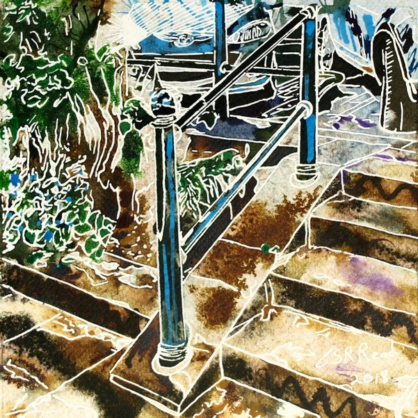 Painting of a handrail and steps. Hand Rail - ©2018 - Cathy Read - 16 of 4950 Series - Watercolour-and-Acrylic-17.8x17.8cm - £154