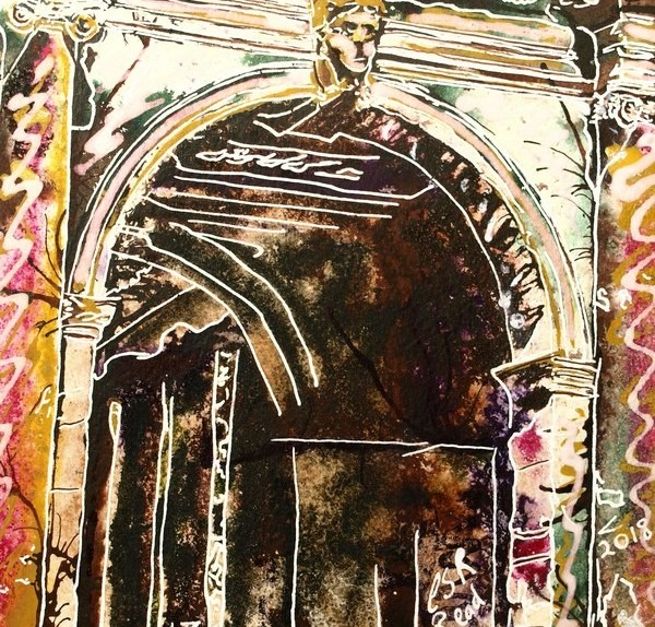 Finished Painting of the Arch on the Palladian Bridge at Stowe Gardens in Buckinghamshire by Cathy Read. New Art - Watercolour and Acrylic