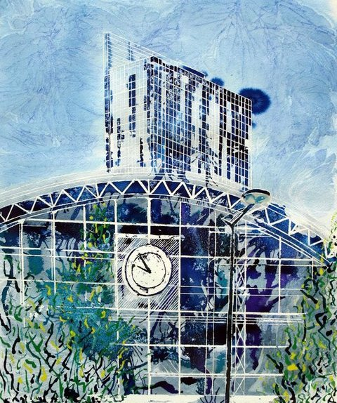 Painting of Manchester's Gmex Centre, Former Central Railway station and Beetham TowerDecades Apart- Cathy Read - Watercolour and acrylic ink - 40x50cm - £570 framed