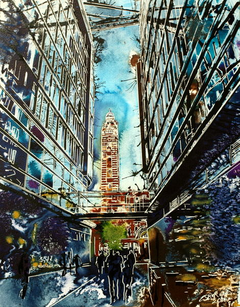 Painting meditation on Westminster Cathedral seen through the entrance to a shopping centre. LondonLight at the End of the Tunnel - ©2015-Cathy Read-Watercolour-and-Acrylic-50x40-cm - £570