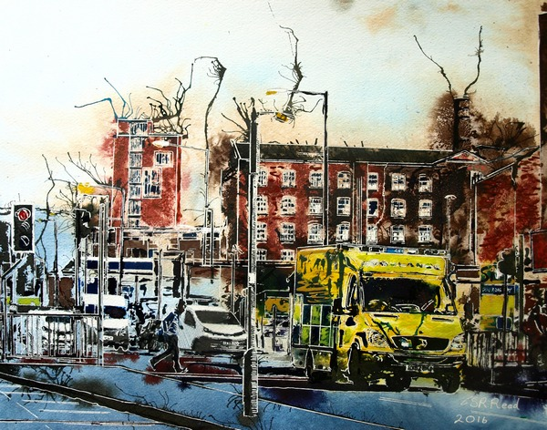 Emergency Run - ©2016 Cathy Read - Watercolour and acrylic ink - 40x50cm - £570 framed